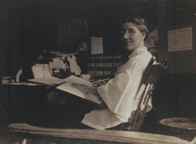Charlotte Perkins at her desk