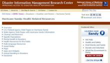 Hurricane Sandy Health-Related Resources Web Page