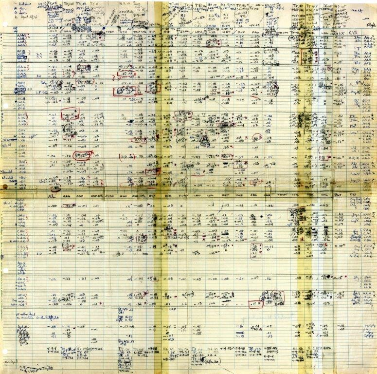 Nirenberg's handwritten genetic code chart