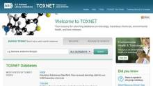 Screenshot of the TOXNET home page