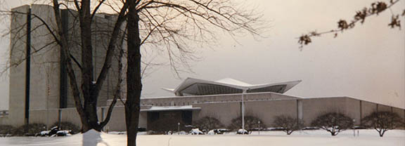 The National Library of Medicine in winter, after an ice storm coated the landscape in white.