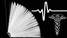 Image montage representing health information: open book, sinus rhythm line, a caduceus.