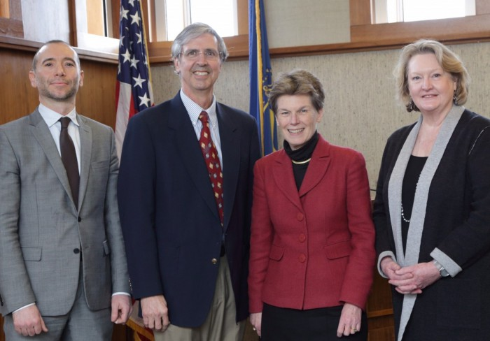 NLM acting director Betsy Humphreys stands with new Board of Regent members Dr. Alessandro Acquisti, Dr. Daniel Masys and Dr. Jill Taylor.