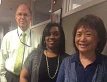 Dr. Bert Hakkinen, Shannon Jordan, and Florence Chang stand side by side