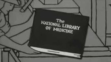 "A book bearing the title ""National Library of Medicine"" comes off a medieval printing press"