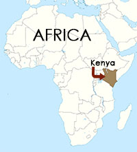 Map of Africa, with Kenya identified