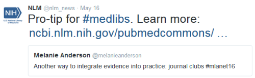 "Pro-tip for medlibs. Retweeting Melanie Anderson who said: ""Another way to integrate evidence into practice: journal clubs."""