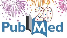 PubMed logo next to lit birthday candles in the shape of the number twenty, exploding fireworks behind