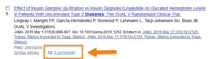 A bibliographic entry in PubMed showing a link to three comments