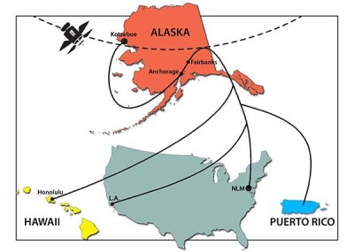 A map showing the long distance learning sites in Kotzebue, Alaska, Honolulu, Hawaii, and San Juan, Puerto Rico.
