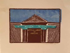 woodcut print in brown and teal showing the front entrance to the National Library of Medicine