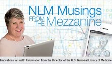 Headshot of Dr. Patti Brennan next to the blog title, NLM Musings from the Mezzanine