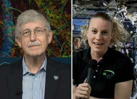 Split screen images: Dr. Collins on the left, Dr. Kate Rubins of NASA on the right