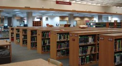 Reading room with low shelves filled with books