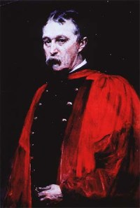 Half-length portrait of John Shaw Billings wearing a red academic robe
