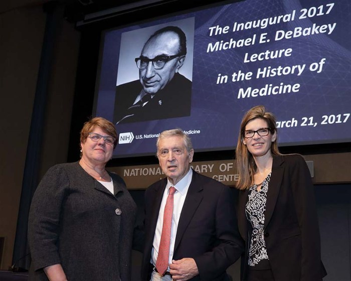Dr. Patricia Flatley Brennan standing with Dr. Shelley McKellar and Dr. George Noon.