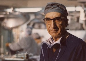 Michael DeBakey in surgical scrubs at Methodist Hospital, operating room in background