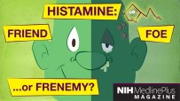cartoon image of a man suffering from a histamine reaction