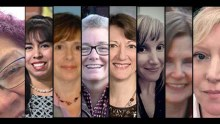 montage of headshots of eight women