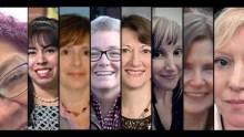 montage of headshots of eight women