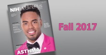 Cover of Fall 2017 issue of MedlinePlus magazine with Rashad Jennings