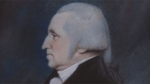 Pastel portrait showing George Washington in left profile, with white hair, white jabot around the neck and black coat
