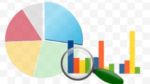 montage of pie chart, bar graph, and magnifying glass