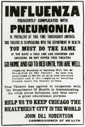 poster banning those with flu symptoms from a theater