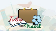 Tales and Travel logo shows a book, a suitcase, and a flower