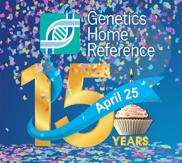celebrating 15 years of Genetics Home Reference with confetti and cupcake
