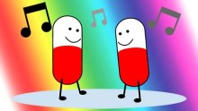 two cartoon pills with smiling faces dance to disco music