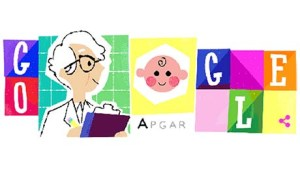 "cartoon drawing of a woman doctor and a happy baby around which are bright blocks spelling out the word ""Google"""