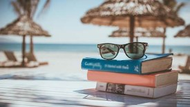 sunglasses rest on a stack of three books, the beach and sand chairs visible behind