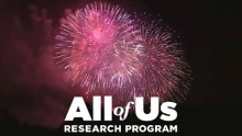 bright red and pink fireworks explode behind the logo for the All of Us Research Program