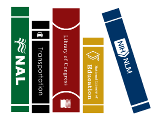 five books of different colors representing the five national libraries in the United States: agriculture, transportation, education, medicine, and the Library of Congress