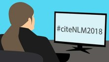 Graphic of a woman at a computer, the screen reads #citeNLM2018.