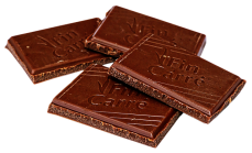 four small squares of chocolate