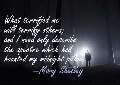 Superimposed over a picture of a dark and scary forest is the following quote by Mary Shelley,