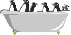 five cartoon penguins peak over the edge of a clawfoot bathtub