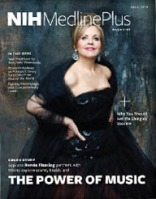 cover of NIH MedlinePlus magazine featuring Renée Fleming