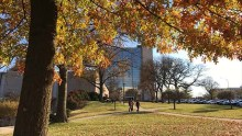 The National Library of Medicine's Lister Hill Center surrounded by autumnal trees