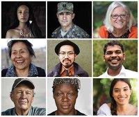 photos of nine individuals to represent the diverse body of volunteers for the All Of Us Research Program