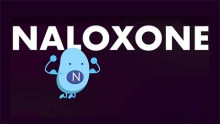 An anthropomorphized cartoon figure representing the drug Naloxone flexes its muscles