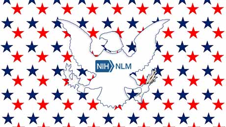 silhouette of a white eagle with the NLM logo on its chest sits against a background of small red and blue stars