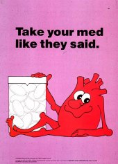 Cartoon character of a heart, complete with face, arms, and legs. The heart is smiling and one hand rests on a large bottle of pills.