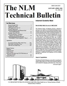 front page of the NLM Technical Bulletin January-April 1996