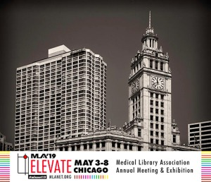 photo of the Sears Tower in Chicago plus the logo for the Medical Library Association 2019 Annual Meeting