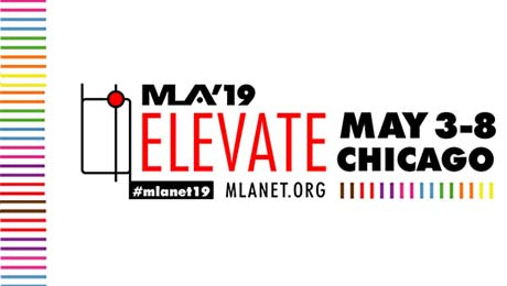 """Logo for the 2019 Medical Library Association annual meeting in Chicago reflecting the theme """"Elevate"""""""