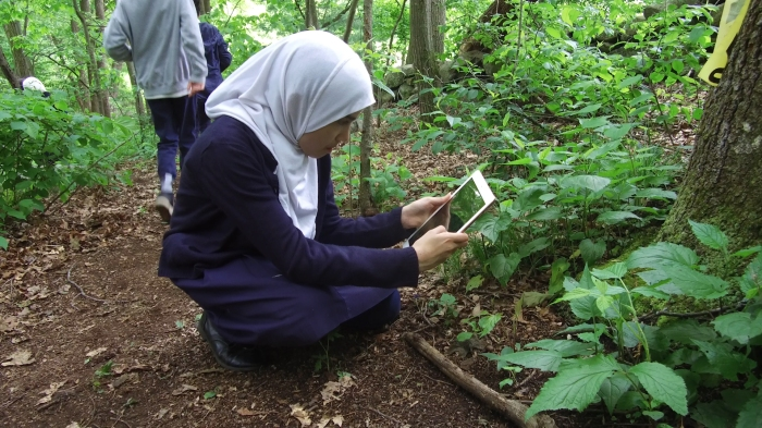 Photo of students use supplies from the All of Us grant to collect data on plants and animals on the nature trail behind their school.