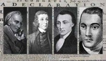 black & white portraits of four founding fathers against a background of the U.S. Declaration of Independence